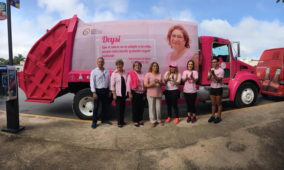 ¿Campaña contra el cáncer en camiones de basura? Ocurrió en Campeche