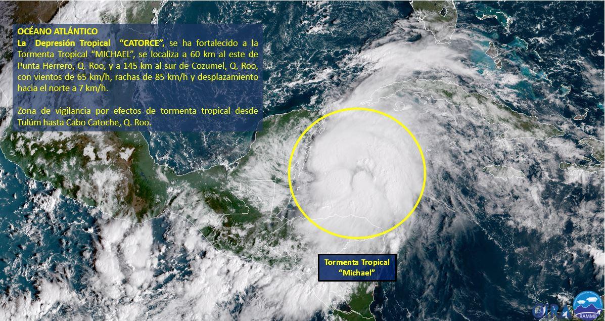 Tormenta Tropical 'Michael' frente a costas de Quintana Roo