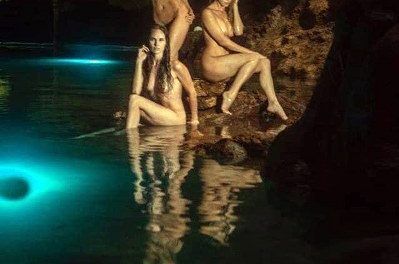 Chicas Playboy posan en cenote de Valladolid (video)