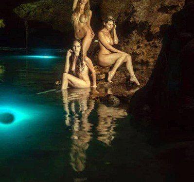 Chicas Playboy posan en cenote de Valladolid (video)