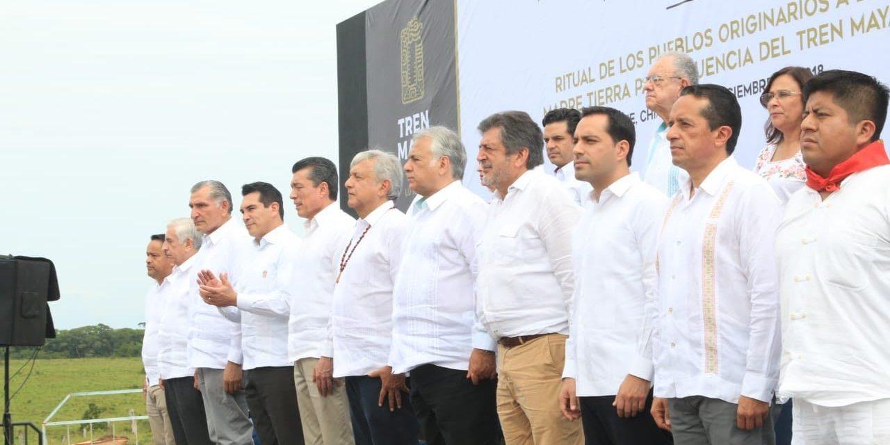 Arrancan trabajos de Tren Maya; asiste Vila a Palenque
