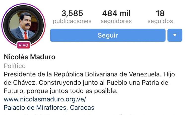 Instagram y Facebook retiran verificación a cuentas de Nicolás Maduro