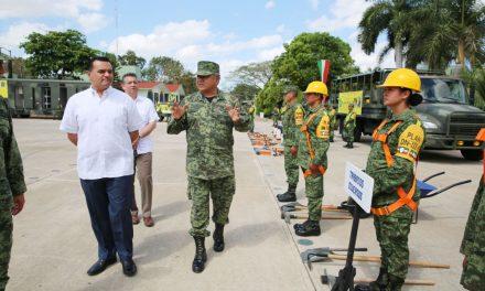 Refrenda Renán esfuerzo conjunto con Sedena por Mérida
