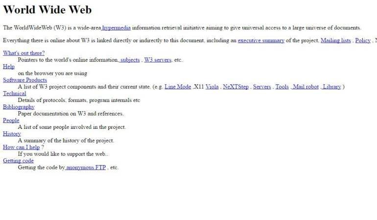 World Wide Web … ¿Cuál fue la primera página web de la historia y para qué servía?