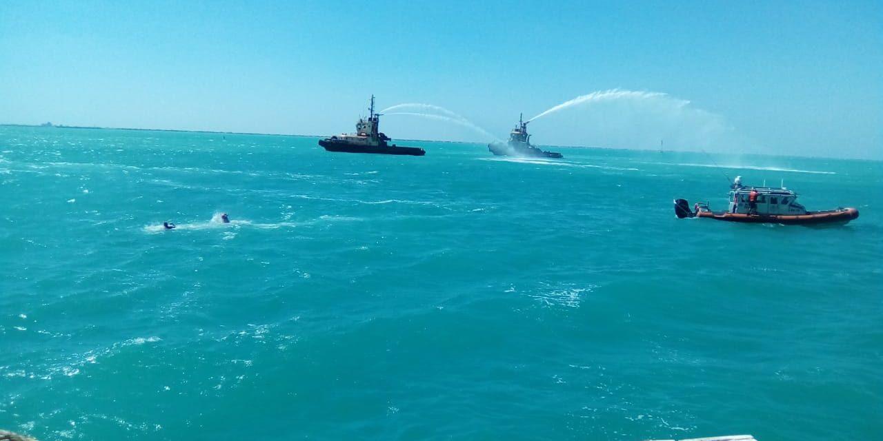 Mira imágenes del ejercicio de protección portuaria en Progreso