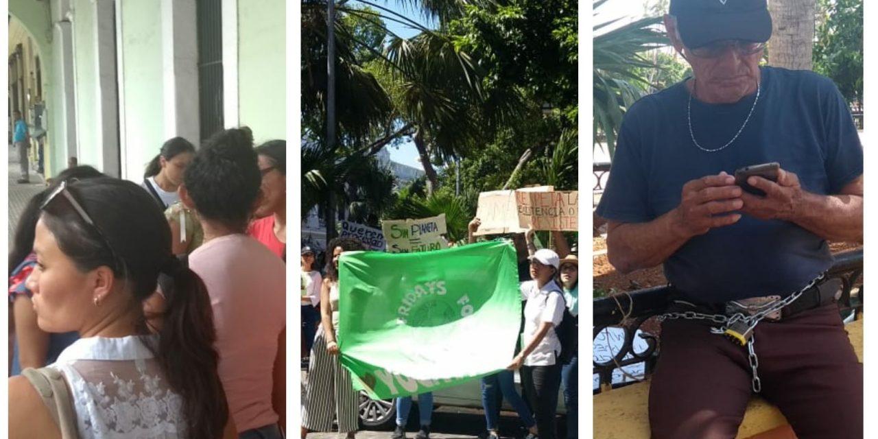 Protestan maestros, ambientalistas y despedido de su trabajo