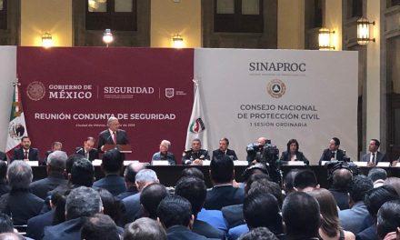 En Sesión de Consejo Nacional de Protección Civil, Renán ratifica coordinación