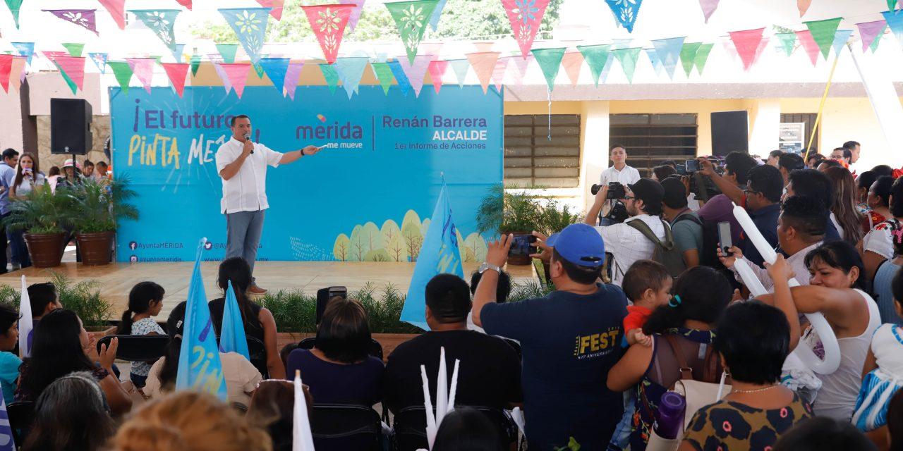 Lleva Renán Barrera Primer Informe a comisari@s en Komchén
