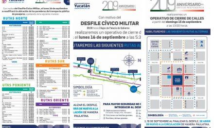 Cierres viales en centro histórico de Mérida y calles aledañas por fiestas patrias