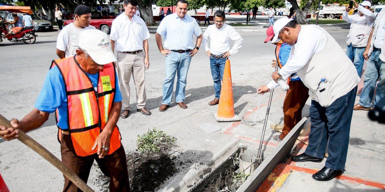 Supervisan trabajos de fumigación, desazolve de pozos, bacheo y limpieza de calles en Mérida