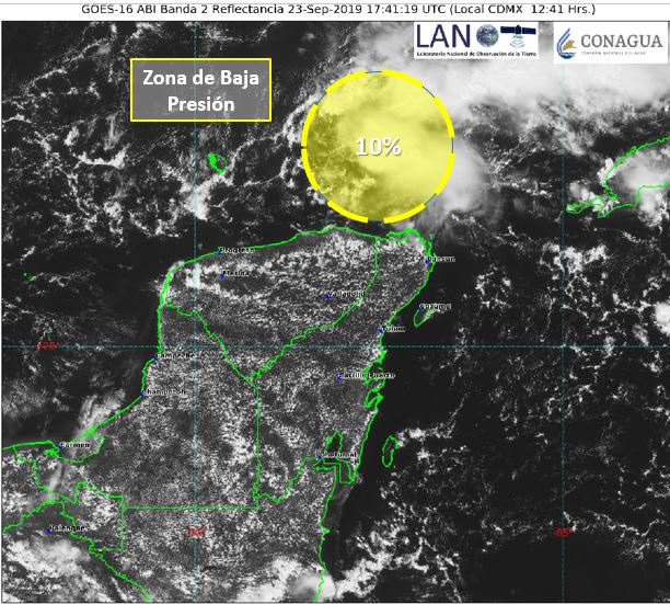 Fuertes lluvias por baja presión en Península de Yucatán, en próximos días
