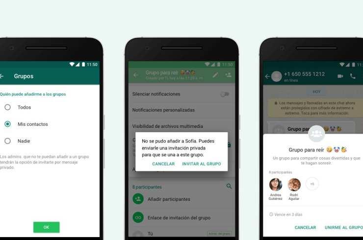 WhatsApp empieza a implementar la opción para evitar que te añadan a un grupo sin tu permiso