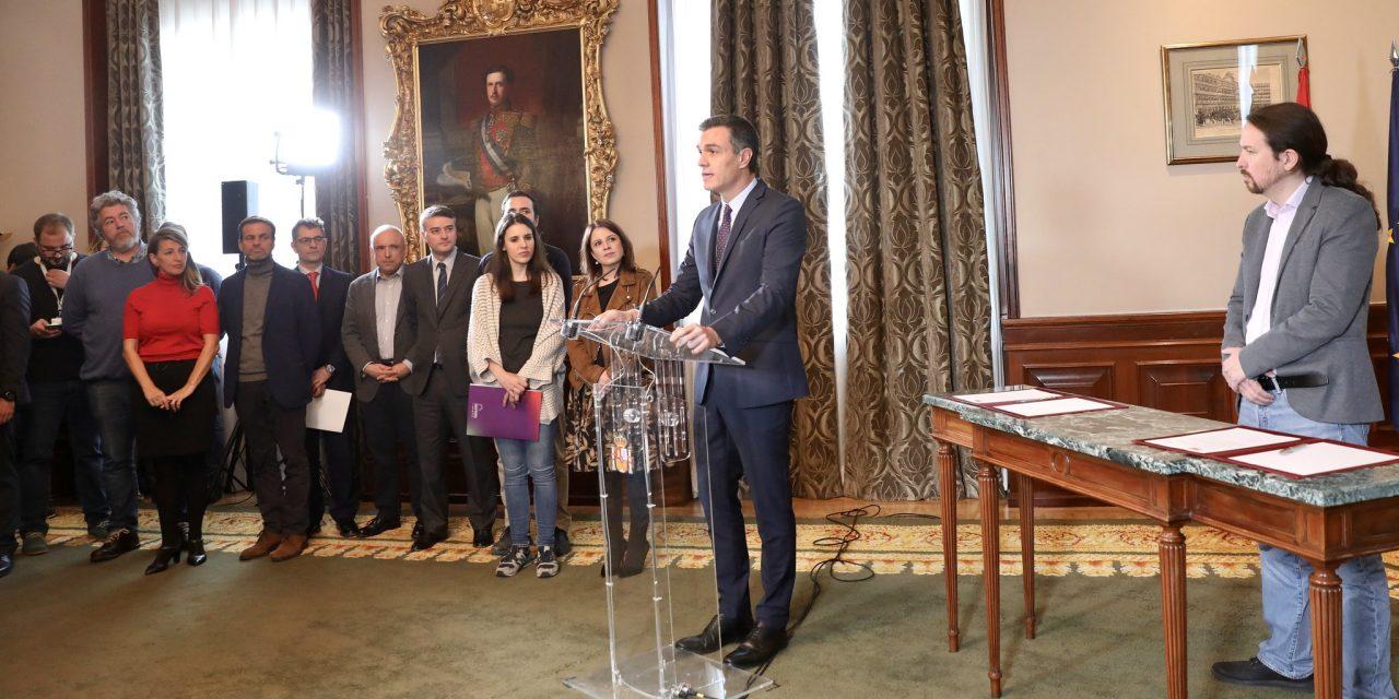 Firman pacto PSOE y Unidas Podemos para conformar gobierno en España