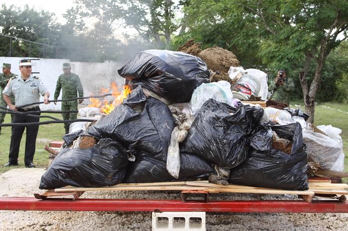 Incineran en Yucatán más de 221 kilos de narcóticos