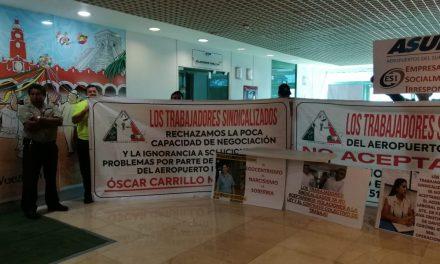 Sin afectar operaciones, protestan en aeropuertos de Mérida y Cancún (Video)