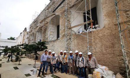 Así restauran muro oriente del conjunto Templo de la Tercera Orden