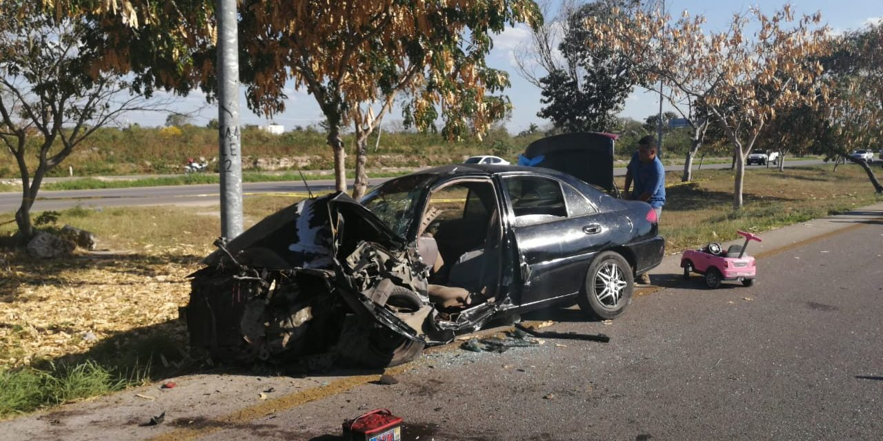 Familia accidentada en periférico Mérida con 5 lesionados (Video)