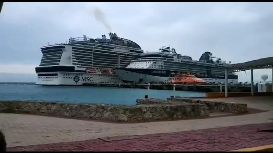 Fondea frente Cozumel crucero Meraviglia, pero sin acceso a muelle