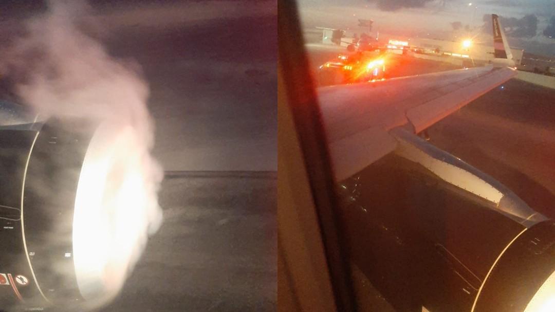 Con turbina incendiada, avión fue desviado de Chetumal y Cancún (Video)