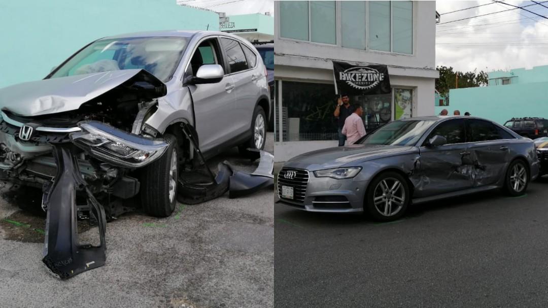 Camioneta CR-V choca un Audi en colonia México (Video)