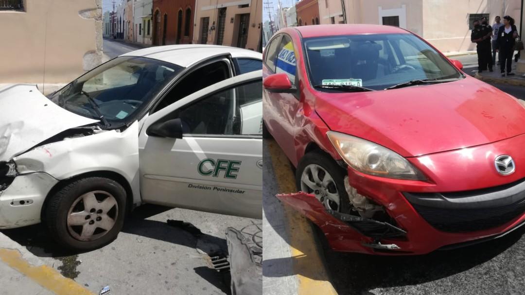 """Automóvil de CFE involucrado en """"semaforazo"""" en centro de Mérida"""