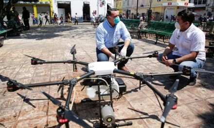 Con drones sanitizarán espacios públicos de Mérida