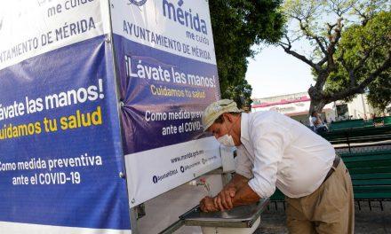 Mérida contra Covid-19: lavamanos, carpas y túnel sanitizante