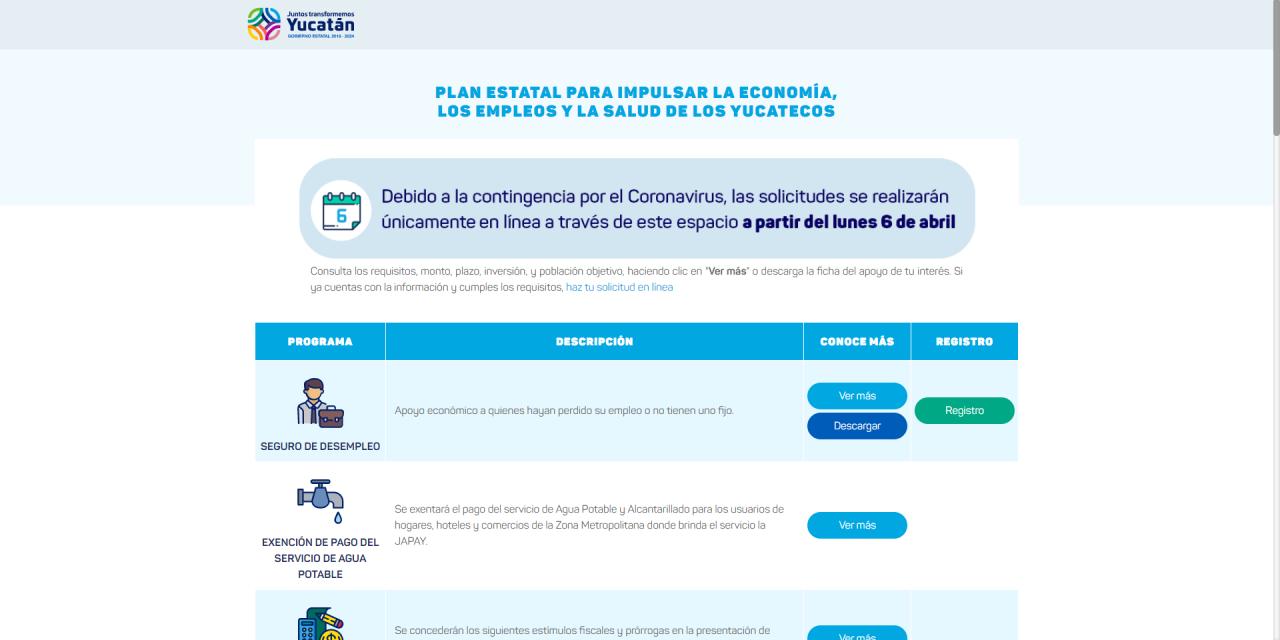 Saturan en Yucatán plataforma para solicitar apoyos económicos