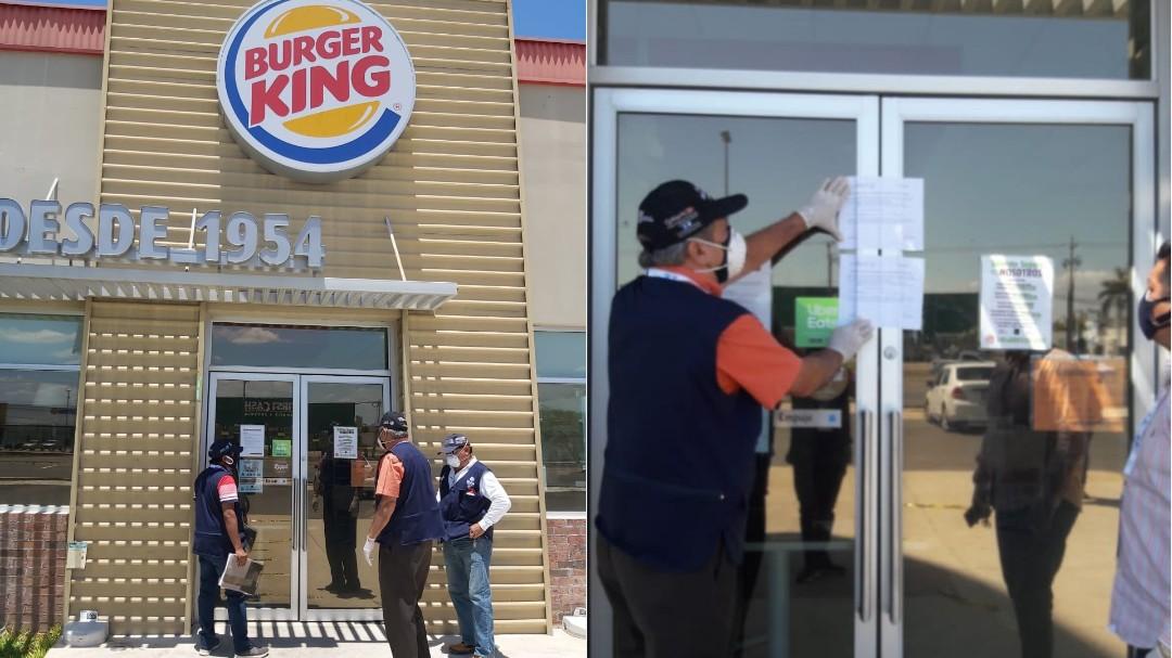 Clausura temporal y multa a Burger King, Ciudad Caucel por violar disposición