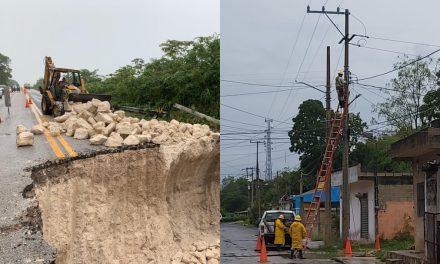 Carreteras y suministro de electricidad, impactados por lluvias