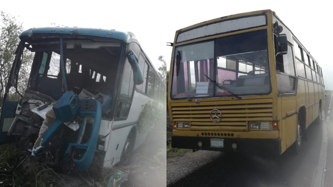 Colisionan autobuses particulares en la carretera Mérida-Tetiz (Vídeo)