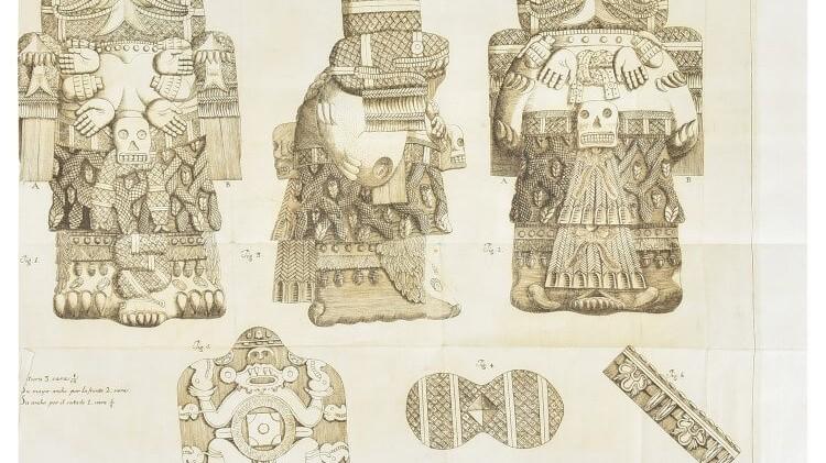 Primer registro del Calendario Azteca y diosa Coatlicue, a subasta