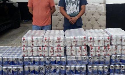 """Detenidos en Tizimín con parte del """"abasto"""": mil 80 latas de cerveza"""