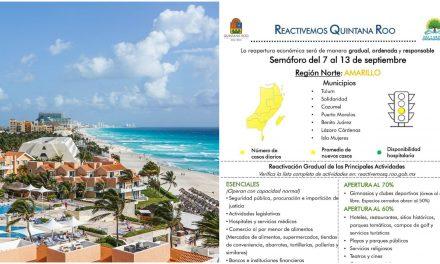 Norte de Quintana Roo, Cancún y Riviera Maya, amarillo desde lunes