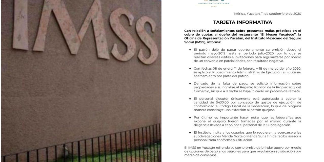 """Desmiente IMSS-Yucatán a restaurantero que denunció """"corruptelas"""""""