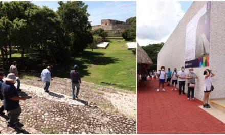 Deslumbra de nuevo Uxmal: unos 100 visitantes en reapertura este lunes