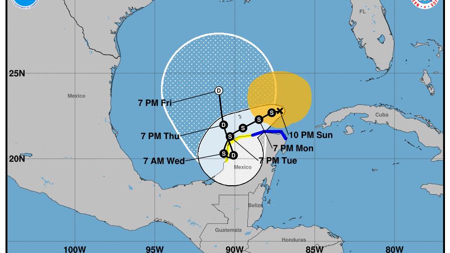 """""""Gamma"""" regresaría a tierra firme en Yucatán por la costa poniente"""