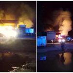 Incendio y explosión en taller ubicado en posada para tráileres