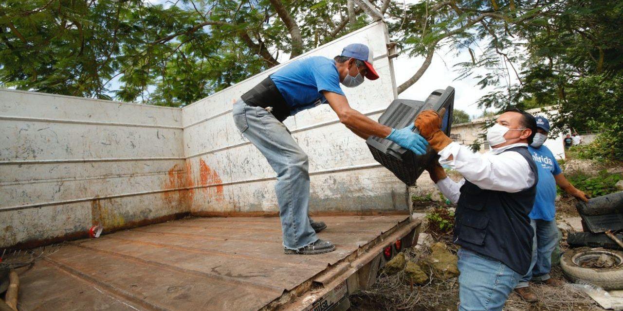 Tras inundaciones, descacharrización emergente en comisarías de Mérida