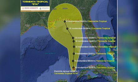 """Estaría """"Eta"""" en punto más cercano con la península de Yucatán"""