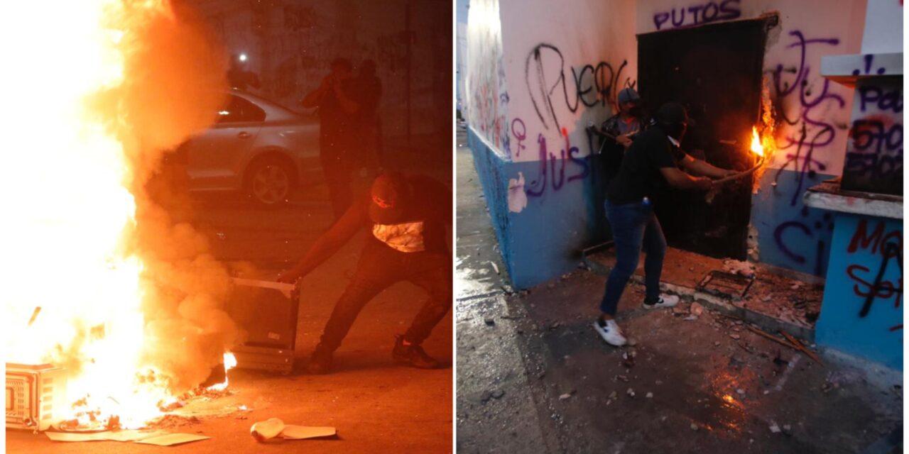 Exigen alto a violencia contra mujeres y causan destrozos en Cancún