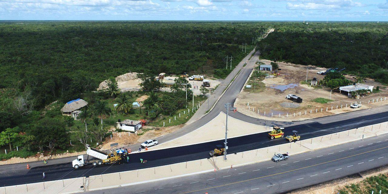 Lluvias no han detenido obras en carretera Mérida-Chetumal