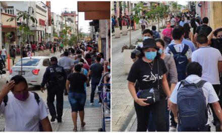 Desafían rebrote de virus: saturan comercios y plazas en Mérida