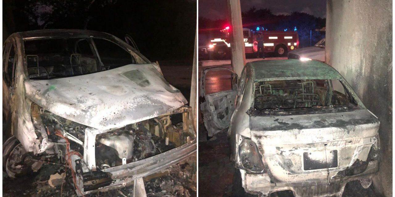 Chocan y se incendia vehículo; logran salir pese al fuego