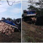Vuelca remolque cervecero en la carretera Mérida-Campeche