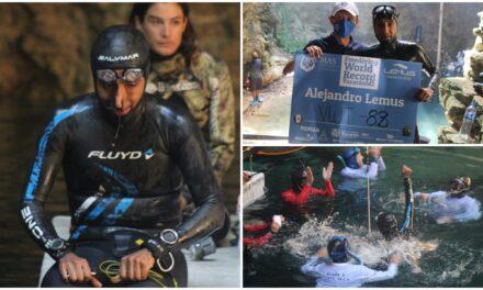 Apneista Alejandro Lemus Nava rompió récord mundial en cenote Ucil