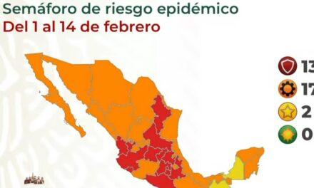 Apagan verde en estados; retrocede Campeche al amarillo y 13 en rojo