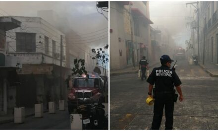 Extraño incendio dañó bodega del centro histórico de Mérida