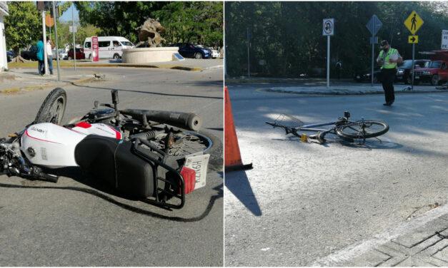 """Ciclista """"se vuela alto"""" y es atropellado por motocicleta; dos lesionados"""