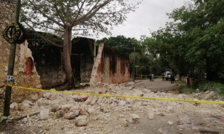 Derrumbe en antigua hacienda de San Luis Chuburná por viento y lluvia (Video)